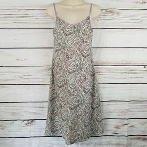J. Crew Paisley Midi Slip On Dress Purple Trim EUC